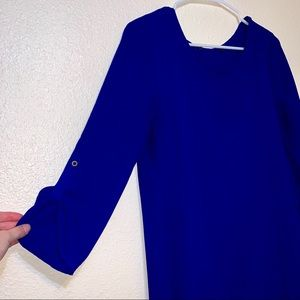 Tops - Cornflower blue blouse with 3/4 quarter sleeves-XL